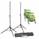 Adam Hall Stands SPS 023 SET 3 - Set of 2 Speaker Stands with Bag and 2 XLR Cables